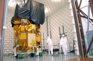 The Landsat Data Continuity Mission (LDCM) undergoes testing at the Orbital Science Corporation's Gilbert, Ariz., location. NASA image taken August 7, 2012.