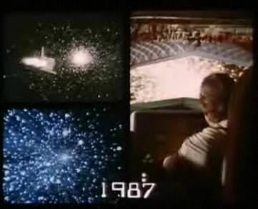 Visual effects of Rogers encountering cosmic forces and freezing his life support system.
