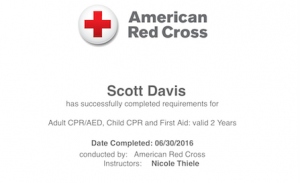 I'm now trained in First Aid, CPR and AED use.