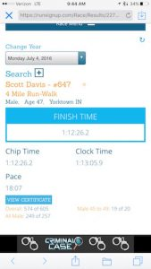 Here's my race result. I listened to music during my walk to get me into my zone.